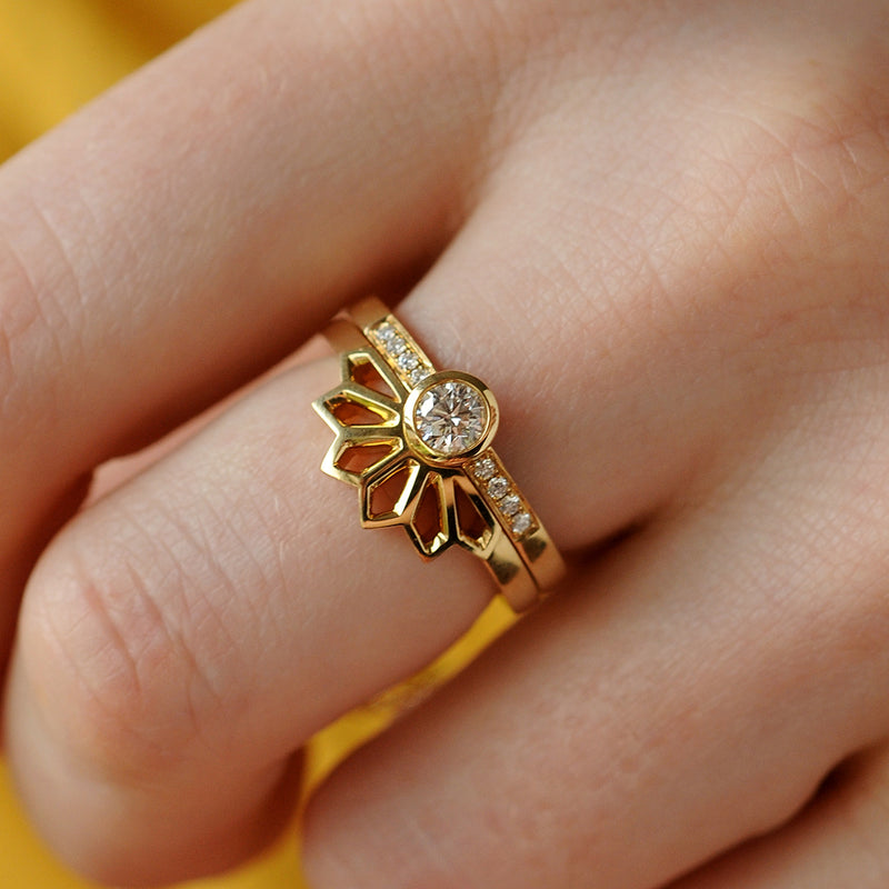 Tiara Fan Ring with Solitaire