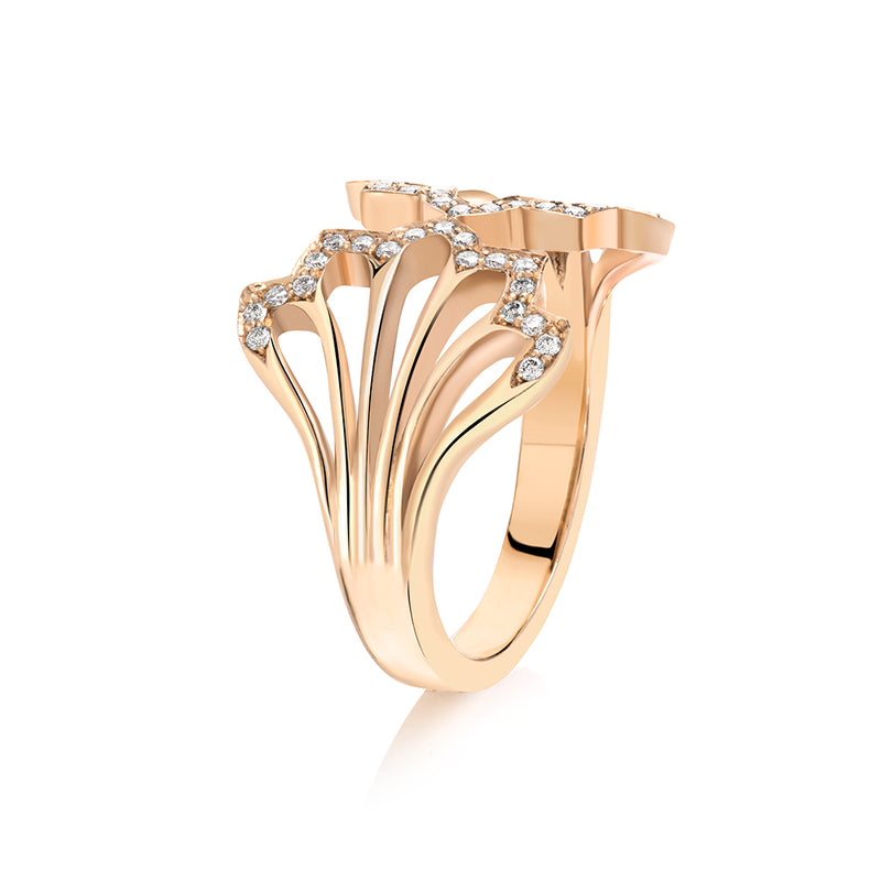 Five Feather Split Ring in Gold and Diamond