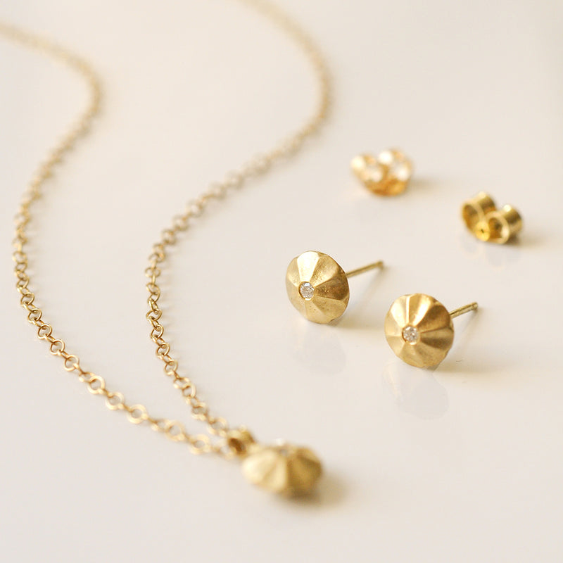Diamond and Stud Necklace Set