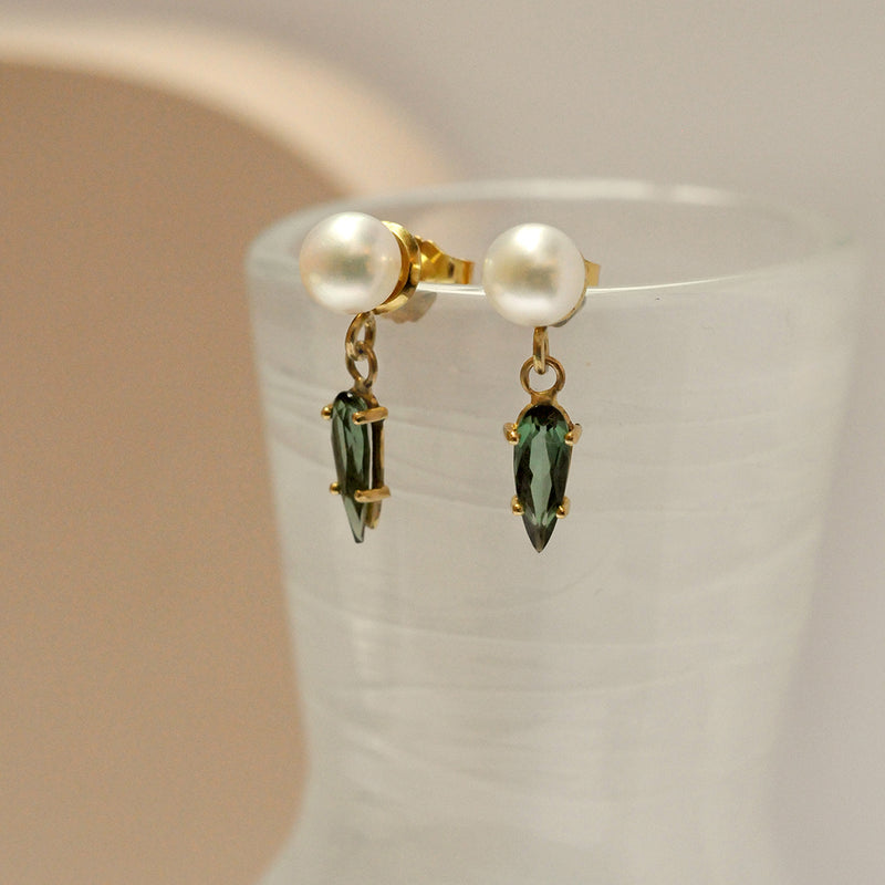 Pearl and Green Tourmaline Drop Earrings