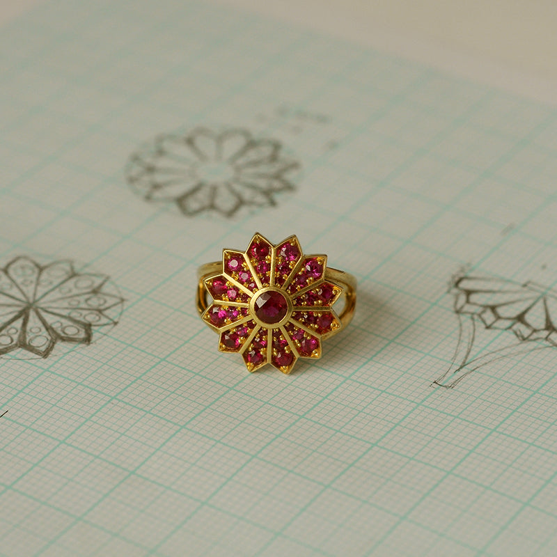 Ruby Pave Set Ring on Sketches
