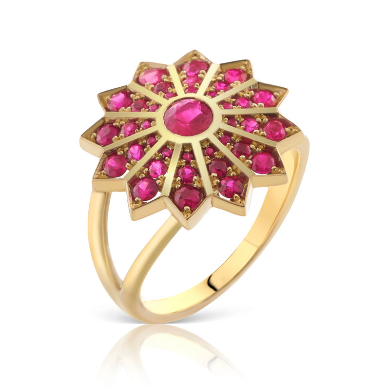 Pushpa Ruby and Gold Ring