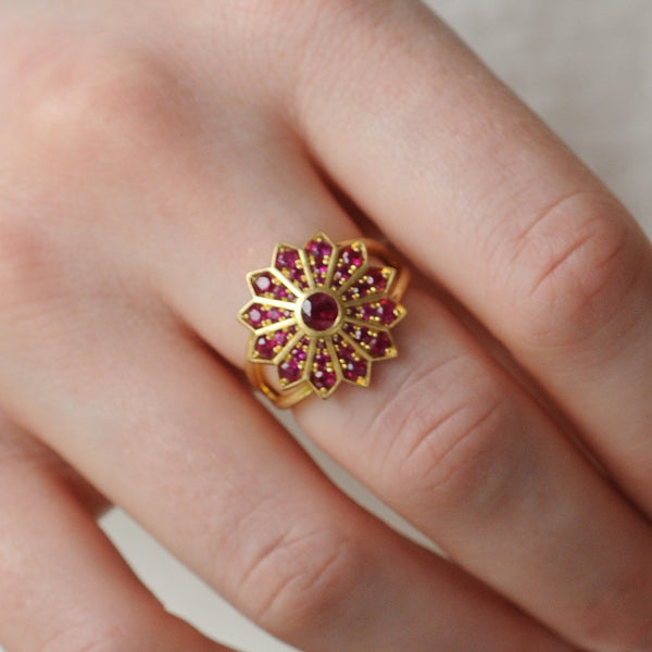 Ruby Pave Set Star Ring