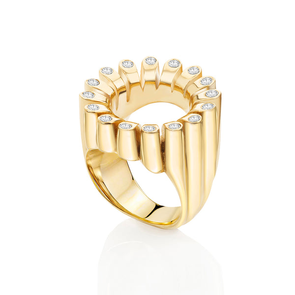Lakshmi Gold: White Diamond Cocktail Ring