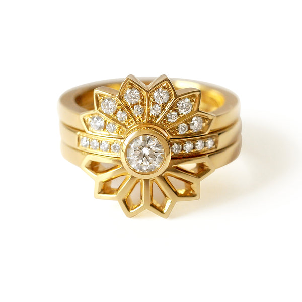 Diamond Solitaire Ring with Diamond Fan Ring