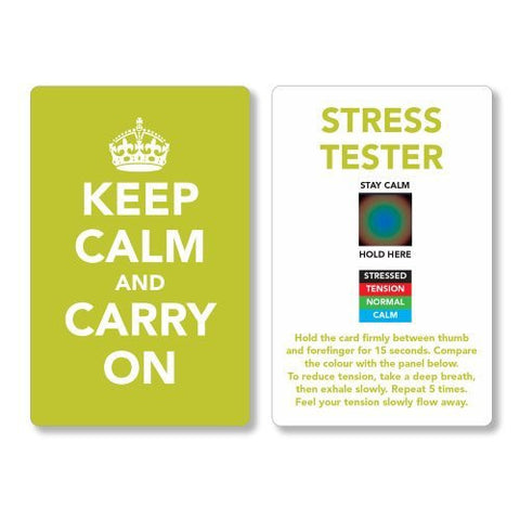 Keep Calm and Carry On Stress Mood Card - Detect, Measure, Manage and Control Monitor - psychology & relaxation techniques - Green