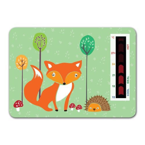 Baby Fox and Hedgehog Nursery Room Safety Temperature Thermometer With New Moving Line Technology
