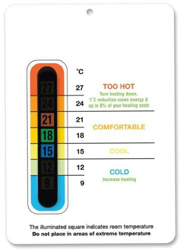 Energy Saving Eco Room Thermometer (White) - Save the environment and money