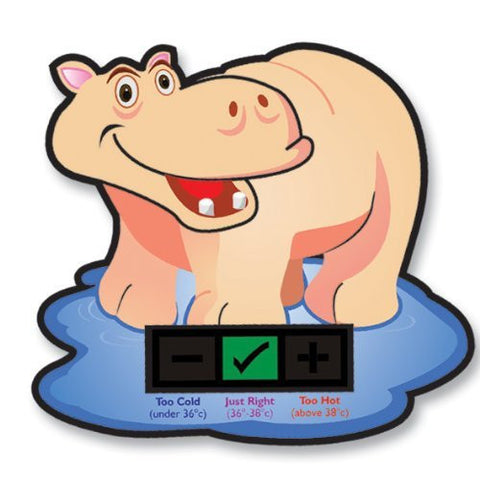 Happy Hippo Baby Bath Thermometer Card