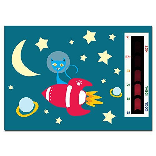 Baby Rocket, Cat, Moon & Stars Nursery Room Safety Temperature Thermometer Monitor