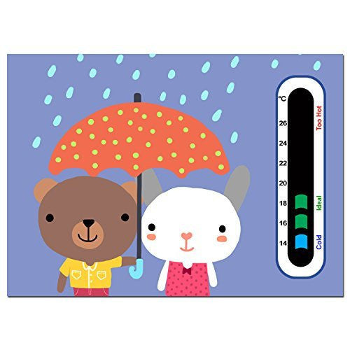 Baby Safe Ideas Happy Twins Nursery Room Thermometer - Using Latest Easy Read Colour Changing Technology