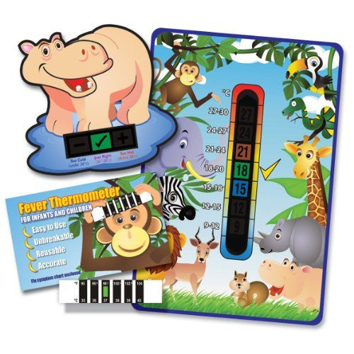 'Happy Family' Hippo Jungle Animals Fever Pack (Nursery and Room Thermometer, Happy Hippo Bath Thermometer and Forehead Thermometer)