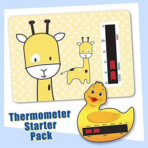 Baby Duck Bath & Yellow Giraffe Nursery Room Thermometer Starter Pack - New Technology