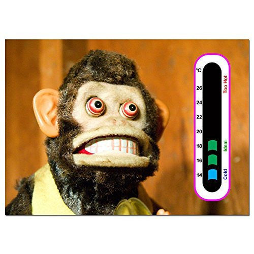 5 x Bargain Pack of Crazy Monkey Nursery Room Thermometer - Using Latest Easy Read Colour Changing Technology - Also fun for Adults!