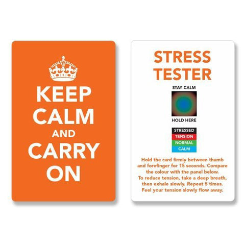 Keep Calm and Carry On Stress Mood Card - Detect, Measure, Manage and Control Monitor - psychology & relaxation techniques - Orange