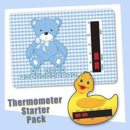 Baby Duck Bath & Blue Bear Nursery Room Thermometer Starter Pack - New Technology