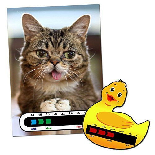 Baby and Child Home and Travel Thermometer Set to Monitor Temperature - Duck Baby Bath Thermometer & Kitty Baby Room Nursery Thermometer