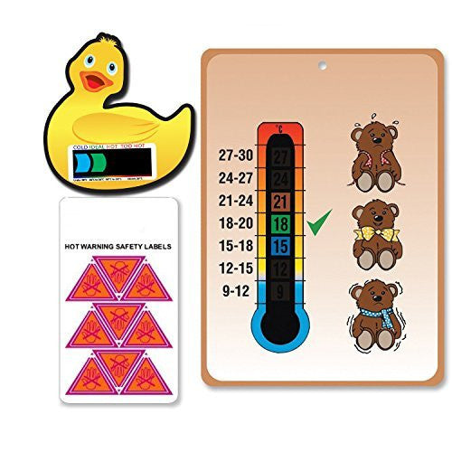Pack of Teddies Nursery, Duck Bath thermometers & Hot Warning labels