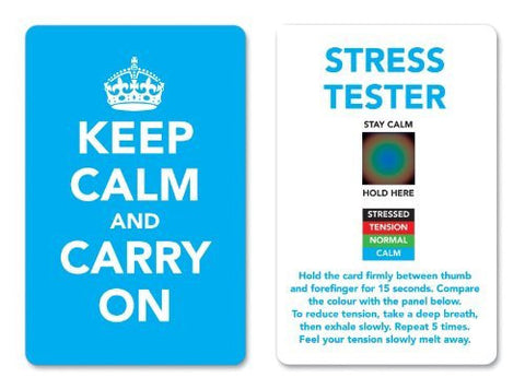 Keep Calm and Carry On Stress Mood Card - Detect, Measure, Manage and Control Monitor - psychology & relaxation techniques - Cyan