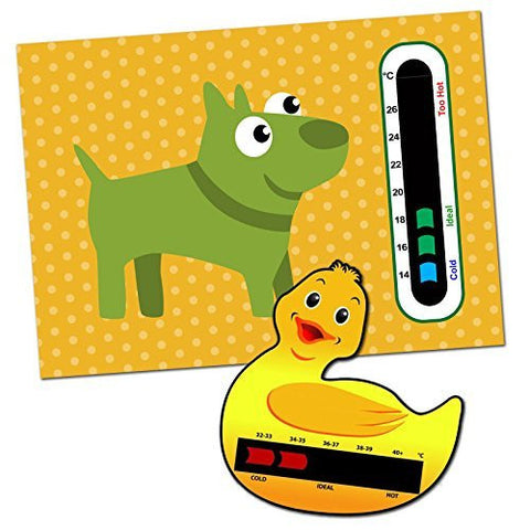 Baby and Child Home and Travel Thermometer Set to Monitor Temperature - Duck Baby Bath Thermometer & Doggy Baby Room Nursery Thermometer