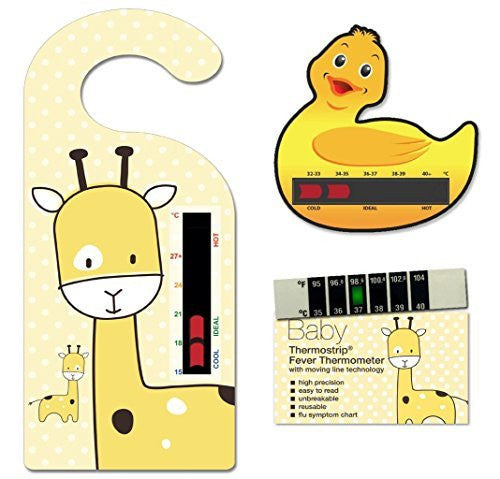Yellow Baby Safe Ideas Thermometer Pack (Yellow Giraffe Nursery and Room Thermometer Hanger, Duck Bath Thermometer and Giraffe Forehead Thermometer)