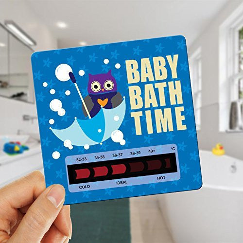 Owl Baby Bath Thermometer Card With New Moving Line Technology - Ensure baby's bath is not too hot or uncomfortably cold. Blue Fiz