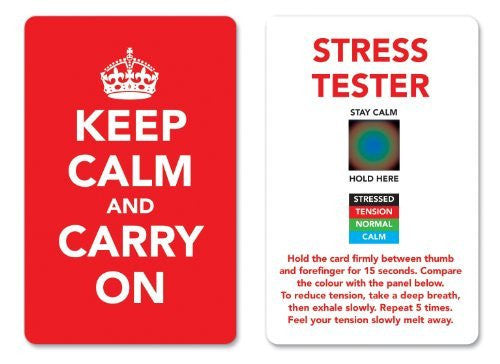 Keep Calm and Carry On Stress Mood Card - Detect, Measure, Manage and Control Monitor - psychology & relaxation techniques - Red