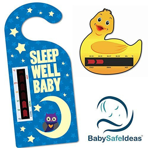 Sleep Well Baby Nursery Room Thermometer Hanger + Duck Bath Thermometer Card