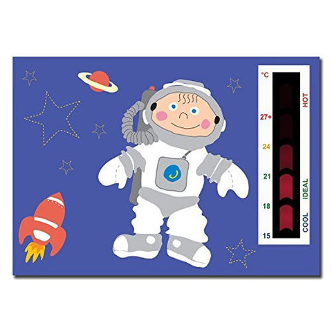 5 Pack - (Baby Spaceman) Nursery Room Safety Thermometer Cards with New Moving Line Technology