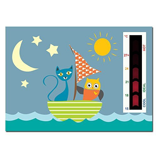 Baby Owl & the Pussycat in Boat Nursery Room Safety Temperature Thermometer Monitor With New Moving Line Technology