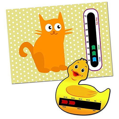 Baby and Child Home and Travel Thermometer Set to Monitor Temperature - Duck Baby Bath Thermometer & Cat Baby Room Nursery Thermometer