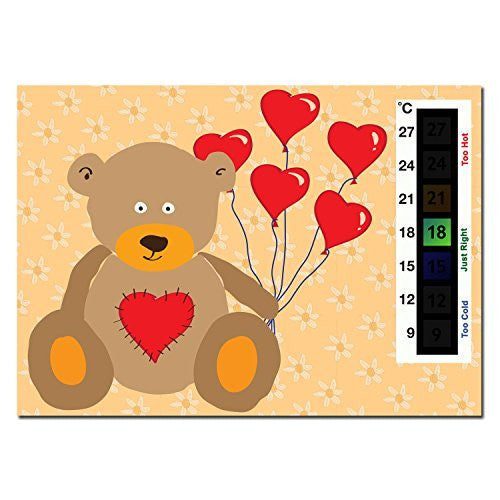 Happy Family Baby Teddy Bear & Heart Balloons Nursery Room Safety Temperature Thermometer Monitor