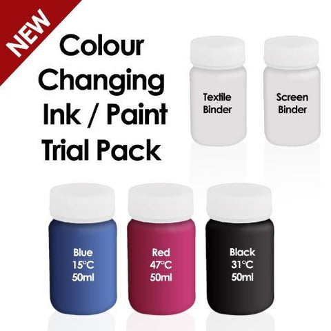 Colour Changing Ink Paint - Thermochromic Ink Paint - Trial / Beginner Pack - Can be used on Paper, Board & Textiles