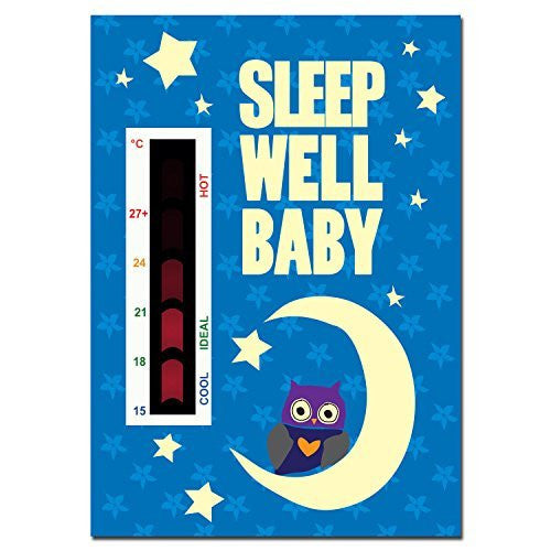 Sleep Well Baby Baby Owl, Moon & Stars Nursery Room Safety Temperature Thermometer Monitor With New Moving Line Technology