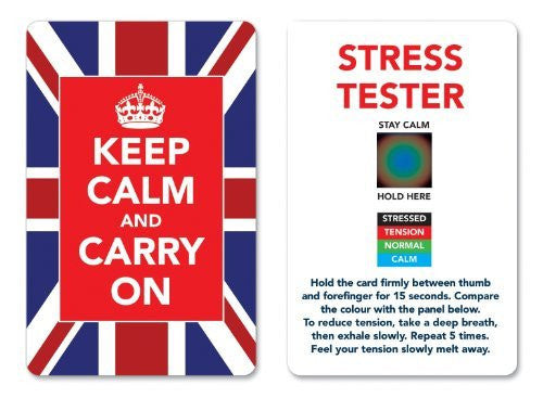 Keep Calm and Carry On Stress Mood Card - Detect, Measure, Manage and Control Monitor - psychology & relaxation techniques - Union Jack