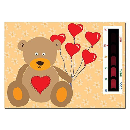 Heart Teddy Bear Nursery Room Thermometer Card