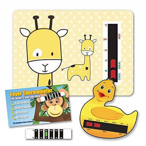 Baby Safe Ideas Thermometer Pack (Giraffe Nursery and Room Thermometer, Duck Bath Thermometer and Baby Forehead Thermometer)
