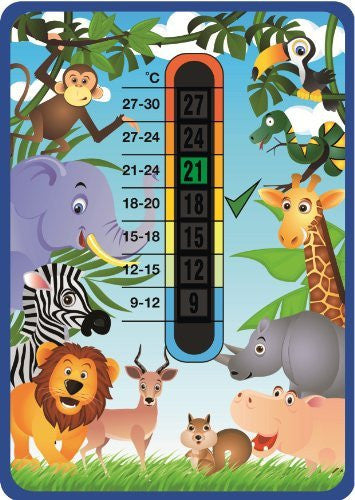 Happy Family Jungle Animals Nursery & Room Thermometer Card