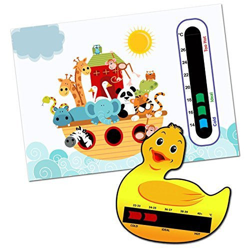 Baby and Child Home and Travel Thermometer Set to Monitor Temperature - Ark Animals Baby Nursery Room Thermometer & Duck bath thermometer