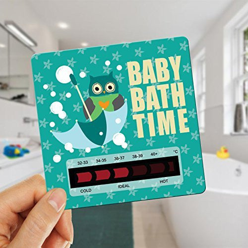 Owl Baby Bath Thermometer Card With New Moving Line Technology - Ensure baby's bath is not too hot or uncomfortably cold. Minty Green Owl
