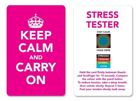 Keep Calm and Carry On Stress Mood Card - Detect, Measure, Manage and Control Monitor - psychology & relaxation techniques - Pink