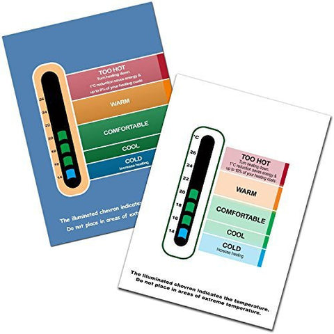 Twin Eco Pack of Energy Saving Eco Room Thermometers (White and Blue) - Latest Easy Read BGOR Colour Changing Technology - Save the environment and money