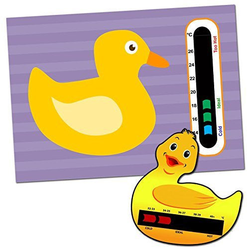 Duck Baby Room Nursery Thermometer Card & Duck Baby Bath Thermometer Card Pack