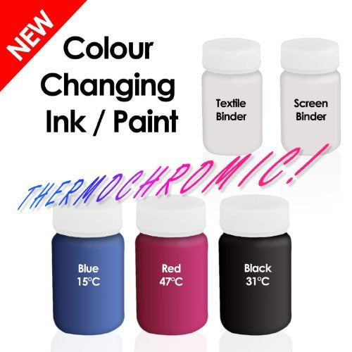 Colour Changing Ink Paint - Thermochromic Ink Paint - Black 31C Rub & Reveal + Blue 15C Chill & Reveal + Red 47C Heat & Reveal - Can be used on Paper, Board & Textiles