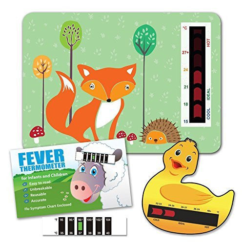 Baby Safe Ideas Thermometer Pack (Nursery Room Thermometer, Duck Bath Thermometer and Baby Forehead Thermometer)