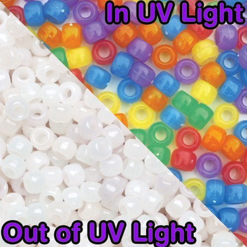 110 Pack - Assorted SolarActive UV Colour Changing Pony Craft Beads