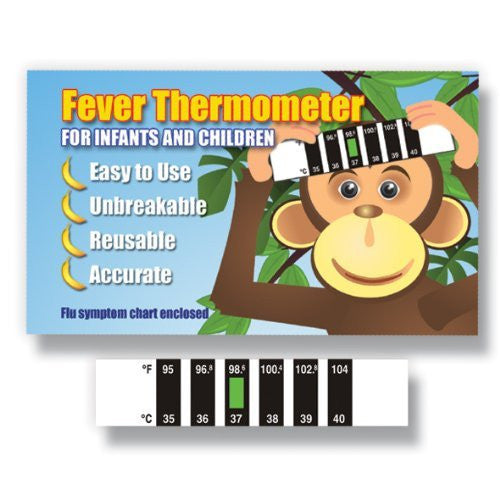 Monkey Forehead thermometer with Cold, Flu & Fever Baby Information Pack