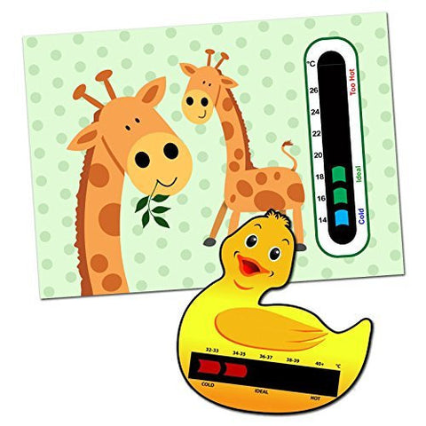Baby and Child Home and Travel Thermometer Set to Monitor Temperature - Duck Baby Bath Thermometer & Giraffe Baby Room Nursery Thermometer