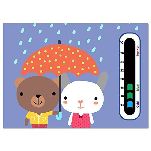 5 x Bargain Pack of Rain Bears Nursery Room Thermometer - Using Latest Easy Read Colour Changing Technology