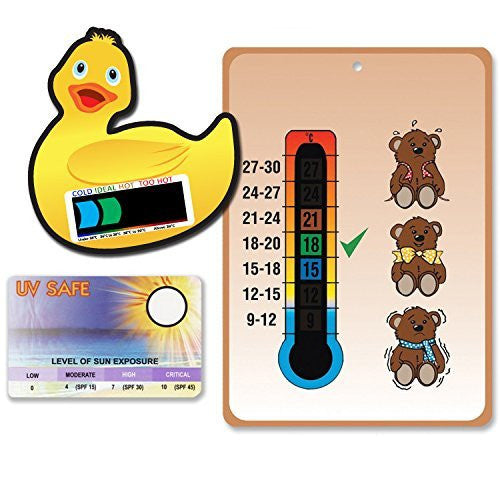 Teddies Pack (Nursery and Room Thermometer Card, Duck Bath Thermometer Card & UV Sunsafe Card)